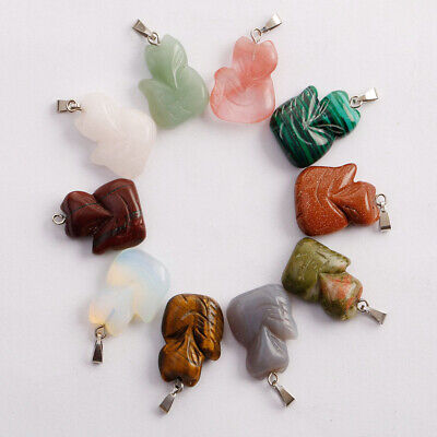 Assorted crafts carved fox stone pendant animal pendant for jewelry making 12pcs