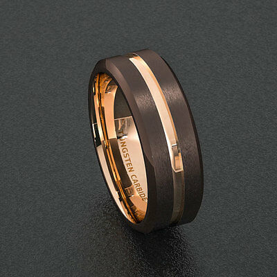 Mens Wedding Band 8mm Dark Espresso Collection Brown Ring Rose Gold