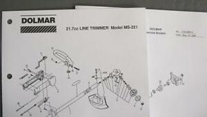 1994-Dolmar-21-7cc-Line-Trimmer-Illust-Parts-List-Model-MS-221-Plus-SVC-Bulletin