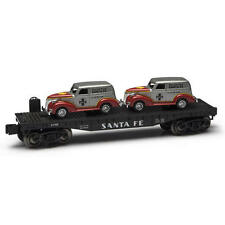 Menards ~ O Gauge Flatcar with Two Santa Fe Panel Cars