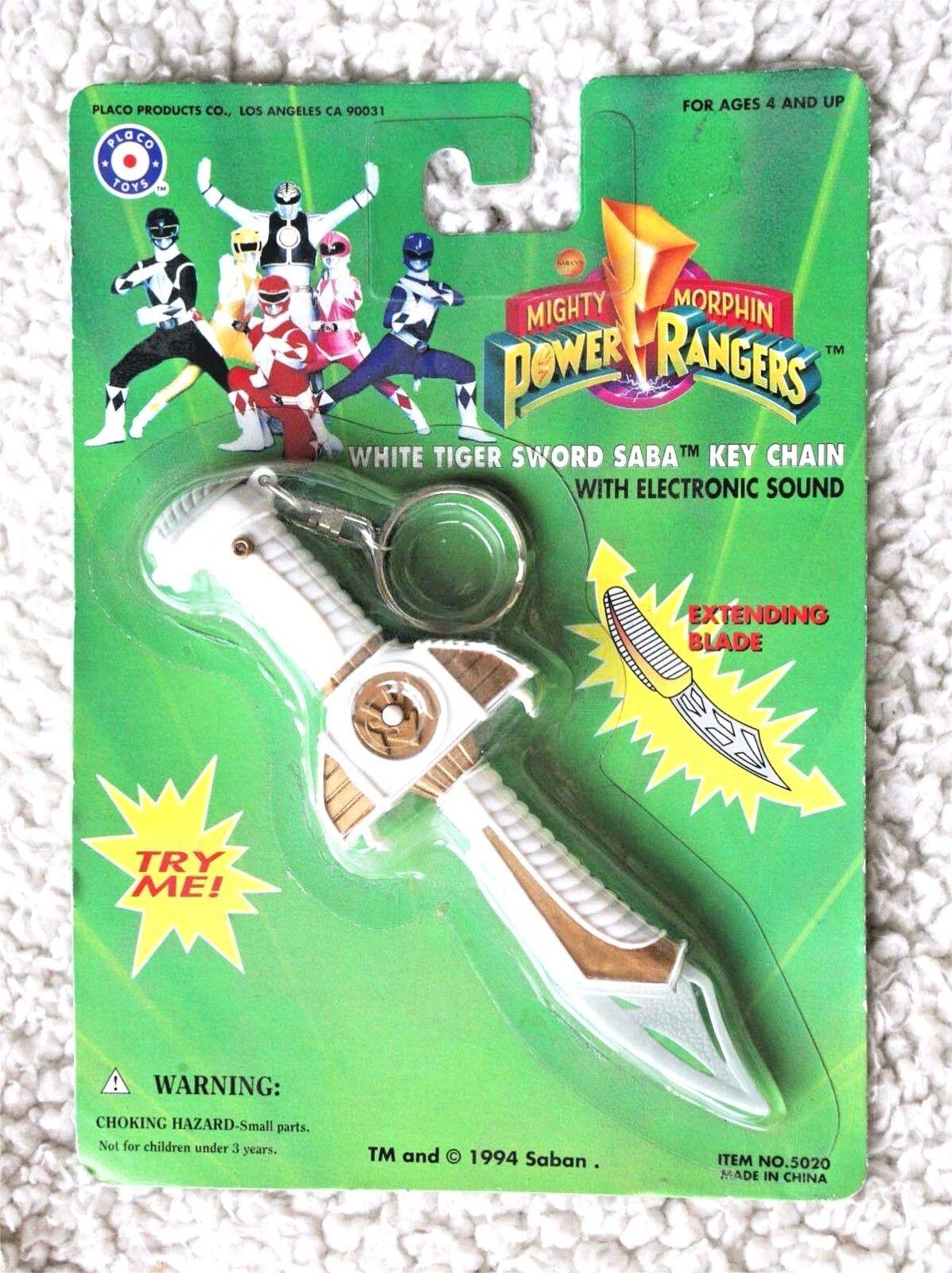 Power rangers  weißer tiger schwert saba schlüsselanhänger (1993).neue marke in der blase.