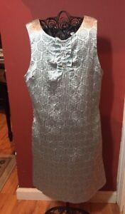 Kc-Parker-Hartstrings-Girls-Sz-10-Festive-Holiday-Shimnery-Euffle-Placket-Dress