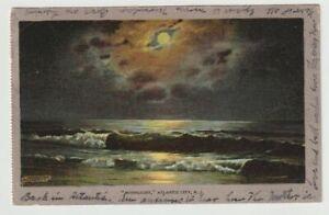 1908-Postmarked-Postcard-Moonlight-on-the-Ocean-Atlantic-City-New-Jersey-NJ