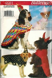 4601-UNCUT-Butterick-Sewing-Pattern-Costumes-for-Dogs-Clown-Princess-Devil-OOP