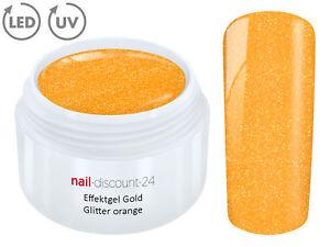 UV LED Effekt Gel GOLD GLITTER ORANGE Glitzer Farbgel Color Nail Modellage Tips