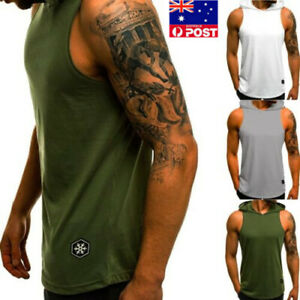 Gym-Men-Sleeveless-Vest-Bodybuilding-Hooded-Tank-Muscle-Clothing-T-Shirt-Top-AU