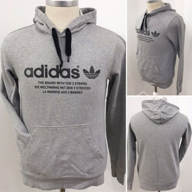 ADIDAS Originals Size Small Men's Grey Hoodie Hoody Graphic Sweater Sweatshirt