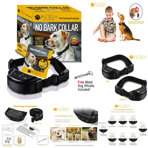 No Bark Collar Sound and Static Shock Anti Bark For S M or L Dog 15-120 Pound