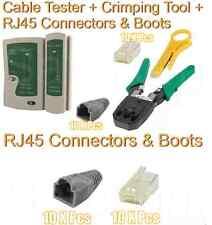 RJ45 Network Cable Crimping Crimper Stripper Tester Connectors Boots Network Kit