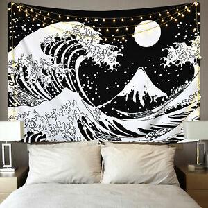 Tapiz De Pared Negro y Blanco la gran ola tapices Colgante De Pared Decoración Hogar