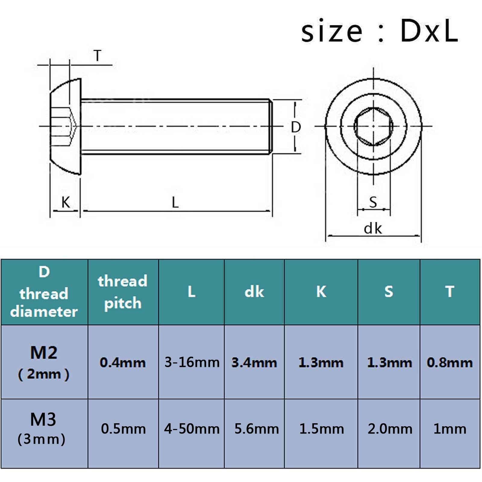 metric thread m2 m3 hex socket allen button head machine. Black Bedroom Furniture Sets. Home Design Ideas