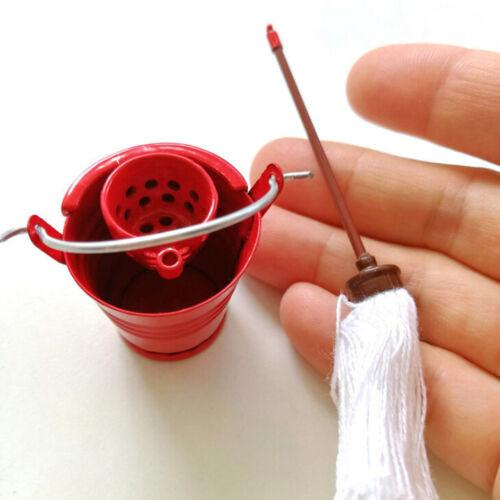 Dollhouse Miniature Floor Mop /& Red Tin Bucket Set