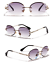 thumbnail 10 - Mens-Womens-Retro-Light-Weight-Vintage-Rimless-Oval-Diamond-Cut-Sunglasses
