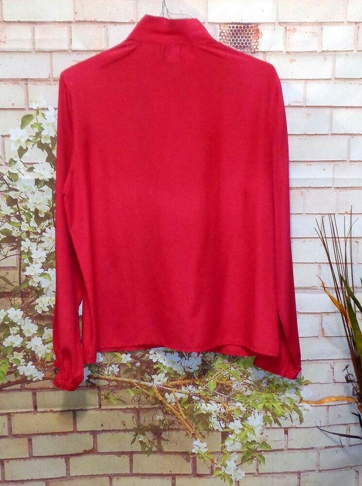 Red Blouse Mock Neckline Professional Look size 10 Pre-