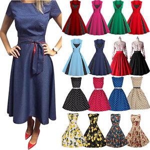 WOMENS-40-039-s-50-039-s-RETRO-VINTAGE-SWING-PARTY-ROCKABILLY-TEA-DRESS-MANY-PRINTS-NEW