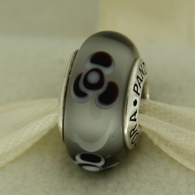0981247a8 Authentic Pandora 790642 Grey Flowers For You Retired Murano Glass Bead  Charm