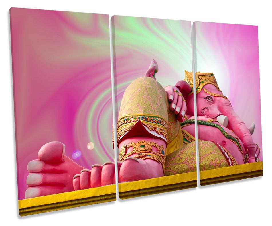 Hindu God Statue Thailand TREBLE CANVAS WALL ART Box Framed Print