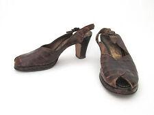 Vintage 1940's WWII low platform alligator slingback peeptoe heels shoes Sz 6A