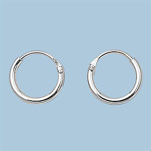 Sterling-Silver-Small-Thin-Endless-Hoop-Earrings-Round-925-Jewelry
