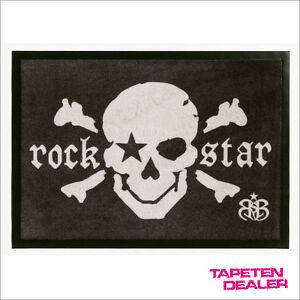 EUR-62-71-qm-Totenkopf-Fussmatte-Rock-Star-Baby-RSD-807-Rockstar-Skull