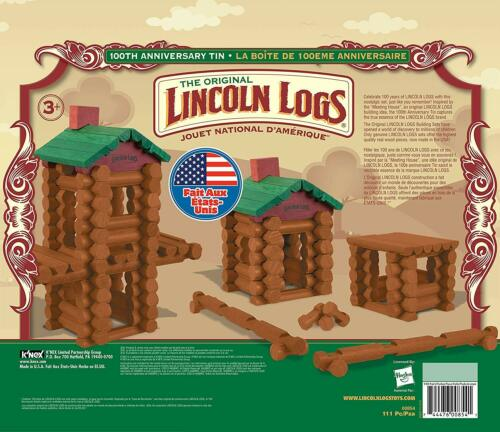 Lincoln Logs 100th Anniversary Tin 111 Pcs Construction Education Toy Real Wood