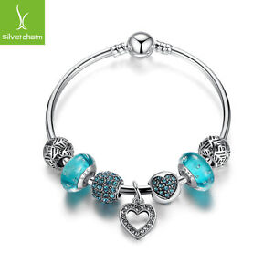 European-925-Silver-Love-Heart-Dangle-Charm-Bangles-With-Blue-Charm-Bead-Jewelry