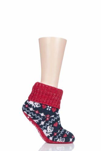 Donna 1 Paio SockShop Wild piedi TRICERATOPO Lavorato a Maglia Foderato in Pile Bootie Pantofola