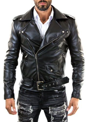 ★Giacca Giubbotto Uomo in di PELLE 100/% Men Leather Jacket Veste Homme Cuir 26p3