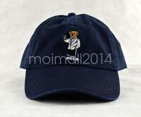 Polo RL Mens White Suit Teddy Bear Logo Hat Baseball Golf Cap Sportman Navy Blue
