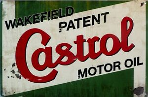 WAKEFIELD-CASTROL-MOTOR-OIL-Auto-Memorabilia-Metal-tin-Sign-With-an-aged-look