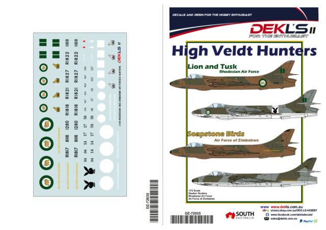 1/72 Decals Hawker Hunter High Veldt Hunters Rhodesia/Zimbabwe AirForce DEKL'sII