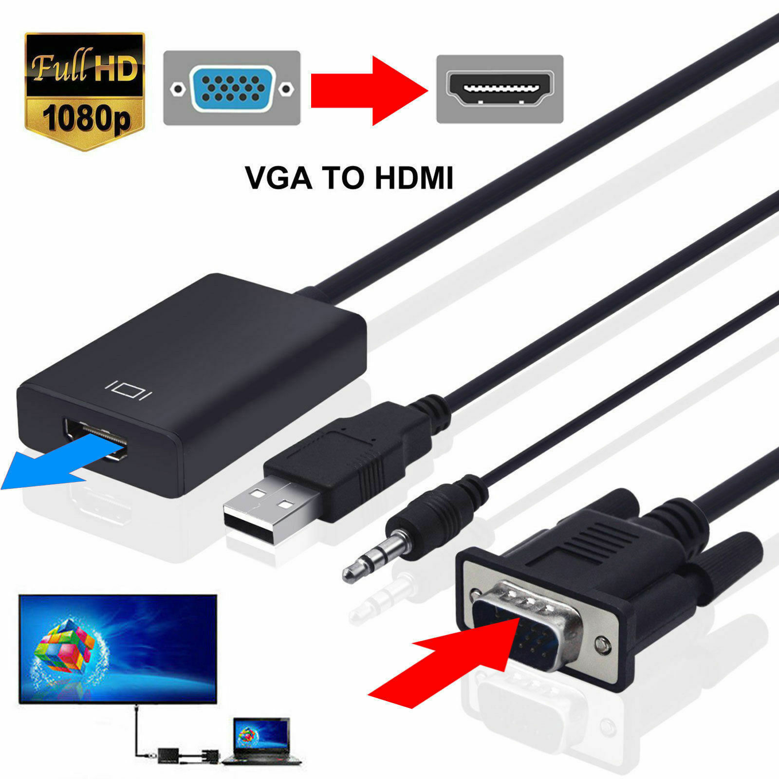 Universal VGA Male To HDMI Output 1080P Audio TV AV HDTV Cable Converter Adapter