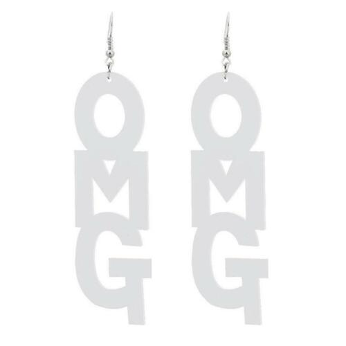Creative OH MY GOD Message Letter OMG Big Acrylic Drop Earrings Fashion Jewelry