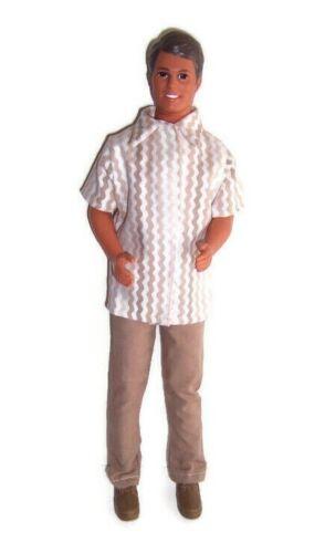 Doll Clothes-Brown//Tan Zig-Zag Print Shirt /& Brown Pants