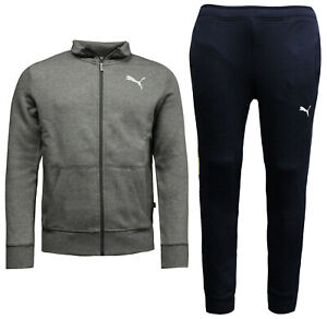 4f6633e3987a Puma Mens Style Sweat Suit Cl Tracksuit Top Joggers Grey Navy 851555 ...