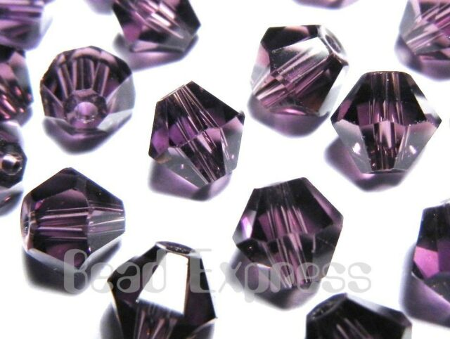 50Pc 4mm Austrian Cut 5301 Crystal Faceted Bicone Beads - Amethyst Purple