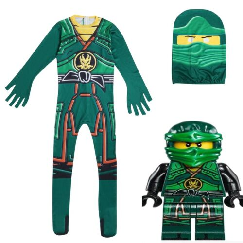 Kids Boys Ninjago Lloyd Kai Deluxe Costume Ninja Cosplay Fancy Dress Clothes Set
