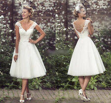 New Tea Length V Neck Bridal Gown Wedding Dress Custom Size 6 8 10 12 14 16 18++