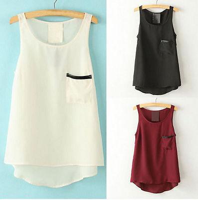 Fashion Women Summer Sleeveless Chiffon Loose Tops Blouse Casual T Shirt Tank