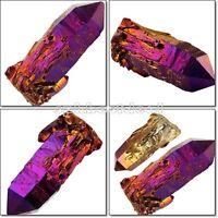 Crystal Coated Raw Natural Titanium Gemstone Cluster Geode Stone Rock Quartz