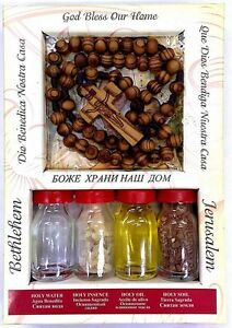 Holy-Set-4-Elements-Holy-Water-Oil-Incense-Jerusalem-Soil-Wood-Rosary-Gift