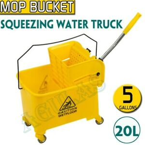 20L 5.28 Gallon Mini Mop Bucket W//Wringer Combo Commercial Rolling Cleaning Cart
