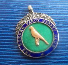 Stg. Silver Enamel Bird Fob Medal h/m 1923 Birmingham - Border Fancy Canary Club