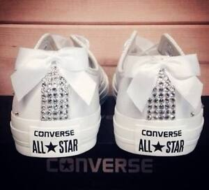 Converse All Star Bianche Total White Swarovski Diamanti Fiocco Lux Basse Strass