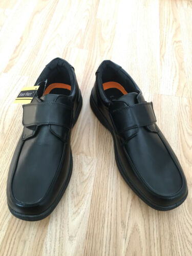 Shoes Size Diabetic Black Men Padded Touch Moccasin Orthopaedic Fastening Wide q4Wz8wU