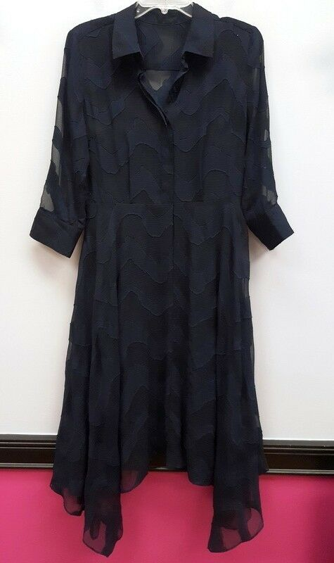 women MORGAN Size 6 bluee Semi Sheer Slip Asymmetric Hem Half Button Dress