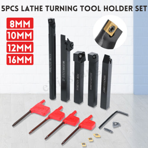 8mm//10mm//12mm//16mm 5Pcs CNC Lathe Turning Tool Holder Set With Insert !