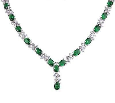 Eccezionale Finitura in Oro Bianco Verde Smeraldo e Sintetico Diamanti Collana SQ21