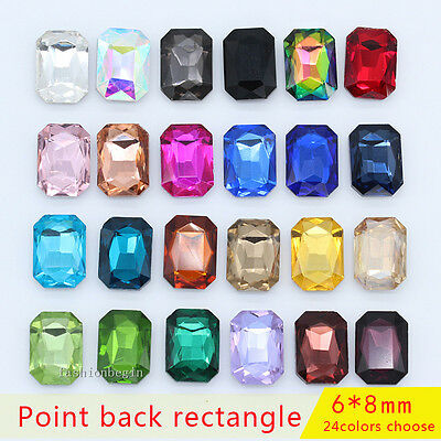 50p 6x8mm Pointed foiled back crystal rhinestones Glass Octagon Nail Art jewels