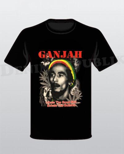 GANJAH Inhale the Good Sh**t Black T-Shirt Marley Reggae Bob Weed Men/'s Tee